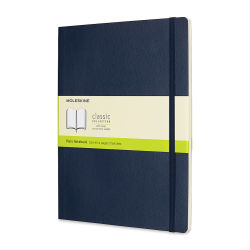 Moleskine Classic Soft Cover Notebook - X-Large, 9-3/4'' x 7-1/2'', Blank, Navy