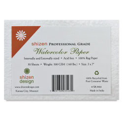 Shizen Professional Watercolor Paper - 5'' x 7'', Cold Press, Pkg of 50 Sheets