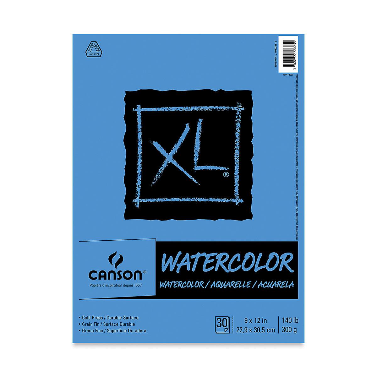Canson XL Watercolor Pad - 9'' x 12'', Euro Fold, 30 Sheets