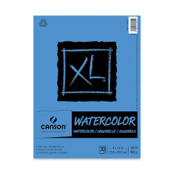 "Canson XL Watercolor Pad-30 sheets, Landscape Euro Fold 9"" x 12"". Front of pad."