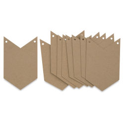 Paper Accents Chipboard Pennants - Chevron, 5'' x 8'', Pkg of 9