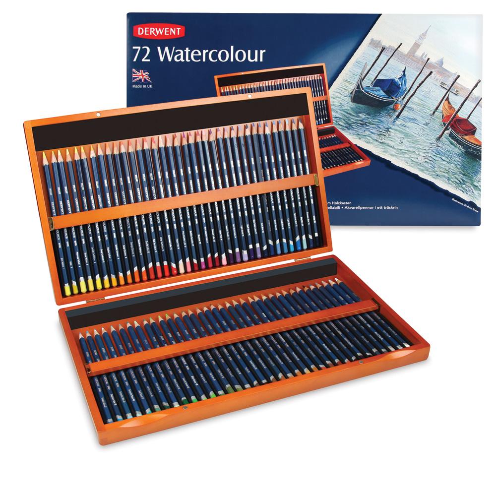 Derwent Watercolor Pencil Set - Assorted Colors, Tin Box, Set of 12