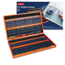 Derwent Watercolor Pencil Set - Assorted Colors, Wood Box, Set of 72