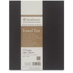 Strathmore Softcover 400 Series Toned Sketch Artist Journal - 9-3/4'' x 7-3/4'', Tan, 80 lb, 112 Pgs