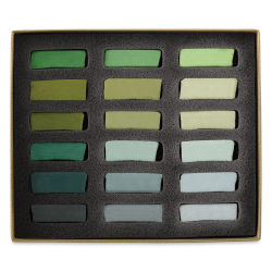Great American Handmade Pastel Set - Half-Stick, Try Me! Green, Set of 18