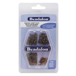 Beadalon Jewelry Findings Variety Pack - Antique Brass, Pkg of 112
