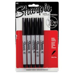 Sharpie Ultra-Fine Point Marker - Black , Ultra-Fine Point, Pack of 5