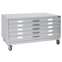 Bieffe BF Line Flat File - Light Grey, 5-Drawer, A0, 16-1/2'' x 55'' x 38''