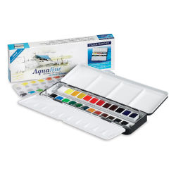 Daler-Rowney Aquafine Watercolors and Sets - Metal Tin, Set of 24, Assorted Colors, Half Pan