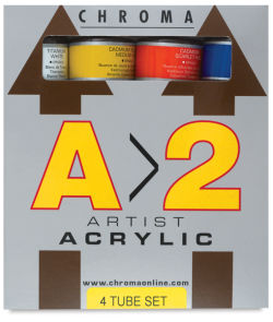 Chroma A2 Student Acrylics - Set of 4 colors, 120 ml tubes