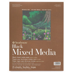 Strathmore 400 Series Black Mixed Media Pad - 11'' x 14'', 15 Sheets
