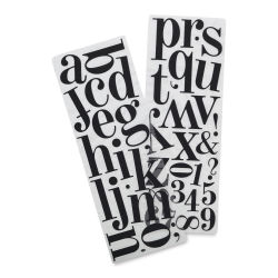 Momenta Alphabet Stickers - Black Glitter, Lowercase Letters and Numbers, Puffy