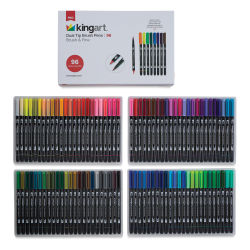 Kingart Dual Tip Brush Pen Set - Set of 96 (front of package and set contents)