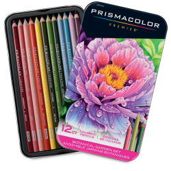 Prismacolor Premier Colored Pencils - Set of 12, Botanical Colors. Package front and inner tray.
