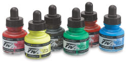Daler-Rowney FW Acrylic Water-Resistant Artists Ink - 1 oz, Primary Colors Set, Set of 6
