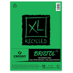 Canson XL Recycled Bristol Pad - 9'' x 12'', Fold-over, 25 Sheets