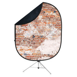 Savage Reversible Collapsible Backdrop Kit - Weathered Brick and Black, 5' x 7'