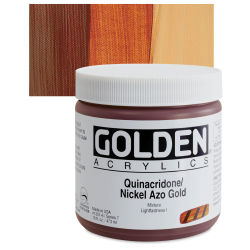 Golden Heavy Body Artist Acrylics - Quinacridone/Nickel Azo Gold, 16 oz Jar