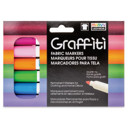 Marvy Uchida Graffiti Fabric Markers - Set of 6, Floral Colors