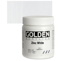Golden Heavy Body Artist Acrylics - Zinc White, 4 oz Jar