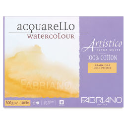 Fabriano Artistico Extra White Watercolor Block - 5'' x 7'', Cold Press, 25 Sheets