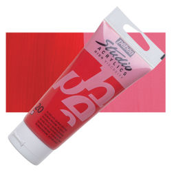Pebeo High Viscosity Acrylics - Quinacridone Scarlet, 100 ml, Swatch with Tube