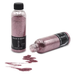 Colorberry Glitter - Dusty Pink, Fine, 90 grams, Bottle (Glitter shown in and out of bottle)