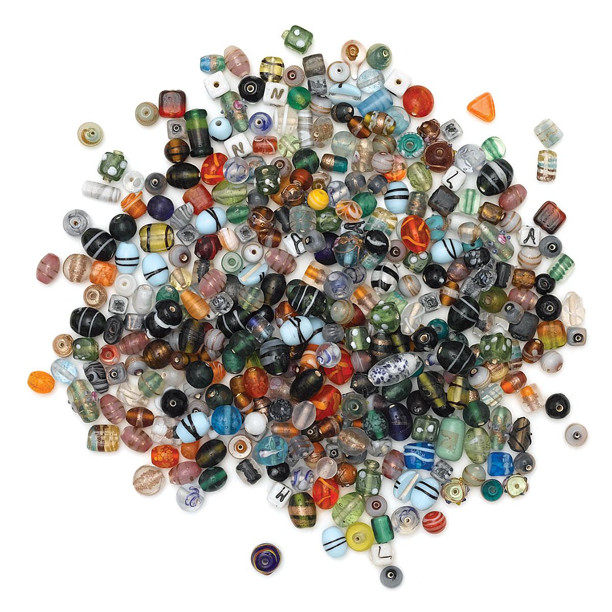 Glass Crow Pony Beads 9 x 6mm  BLACK 100 per strand JewelryCraft Projects