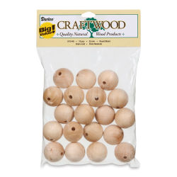 Wood Beads - 25 mm, Pkg of 19