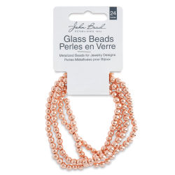 John Bead Metalized Glass Beads - Copper, 4 mm, 24'' Strand