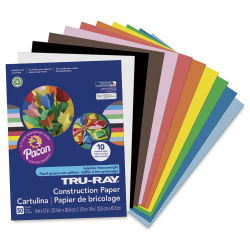 "Pacon Tru-Ray Construction Paper - 9"" x 12"", Assorted, 50 sheets. Cover page and fan of colors."