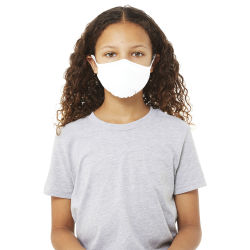 Bella Canvas Kids Reusable Face Mask - Solid White, Package of 5, Shown in use.
