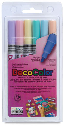 Decocolor Paint Marker - Pastel Colors, Fine Tip, Set of 6