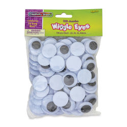 Creativity Street Large Wiggle Eyes - Black, Assorted Sizes, Round, Pkg of 100