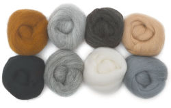 Wistyria Editions 100% Wool Roving - Neutrals, Pkg of 8