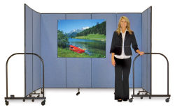 Screenflex Portable Room Dividers - 6 ft x 5 ft, Black, 3 Panel