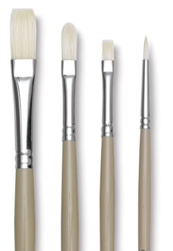 Robert Simmons Signet Bristle Brushes - Long Handle, Pack M, Set of 4 Brushes