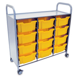 Gratnells Callero Plus Cart - Treble Cart, 12 Deep F2 Trays, Sunshine Yellow