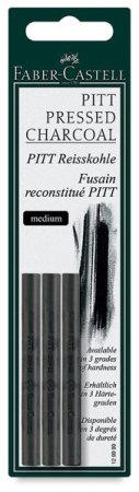 Faber-Castell Pitt Compressed Charcoal Sticks - Medium, Pkg of 3