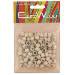 John Bead Euro Wood Beads - Natural, Round Large Hole, 8 mm x 6.5 mm, Pkg of 100