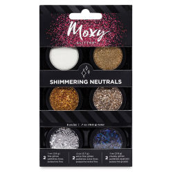 American Crafts Moxy Glitter Pot Set - Shimmering Neutrals, Set of 6
