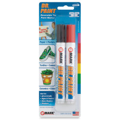 U-Mark Dr. Paint Reversible Tip Paint Markers - Set of 2, Black/Red
