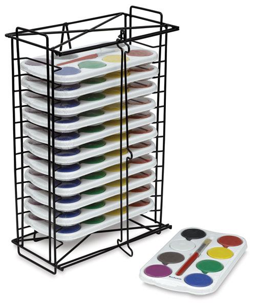 Richeson Tempera Cakes and Sets - Tempera Rack with 12, 8-Color Sets
