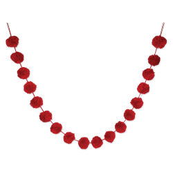 Darice Pom Pom Garland - Red, 6 ft