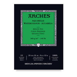 Arches Watercolor Pad - 9'' x 12'', 140 lb, Cold Press, Fold-over, 12 Sheets