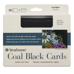 Strathmore Artagain Coal Black Cards - Pkg of 10, 5'' x 6-7/8'', envelopes included