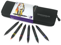 Prismacolor Premier Double-Ended Art Marker Set - Set of 24 with Case and 6 Brush Tip Markers
