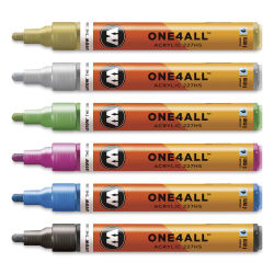 Molotow One4All Acrylic Markers - Metallic Colors, 4 mm, Set of 6