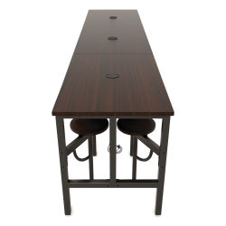 OFM Endure Tables with Attached Stools - 12 Seats, Walnut Top, Walnut Seats, 141''L