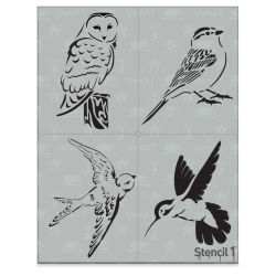 "Stencil1 Multipack Stencil - Birds, Set of 4, 8-1/2"" W x 11"" L"